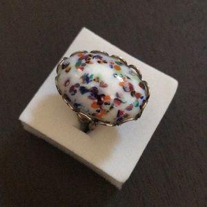 Vintage confetti milk glass braided brass ring